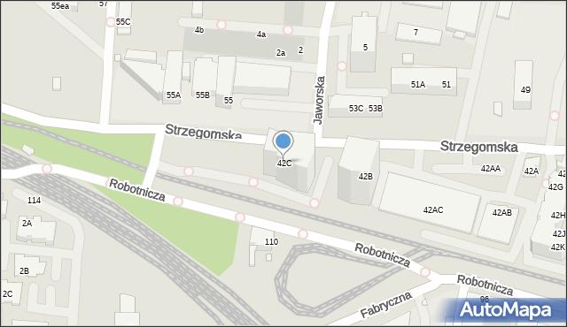 Wrocław, Strzegomska, 42C, mapa Wrocławia