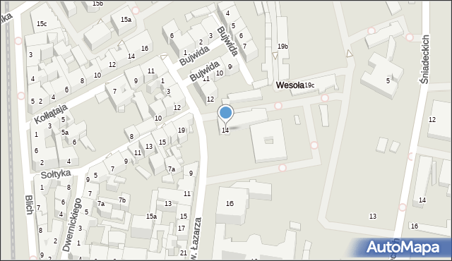 Kraków, św. Łazarza, 14, mapa Krakowa