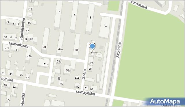 Bydgoszcz, Szara, 21, mapa Bydgoszczy