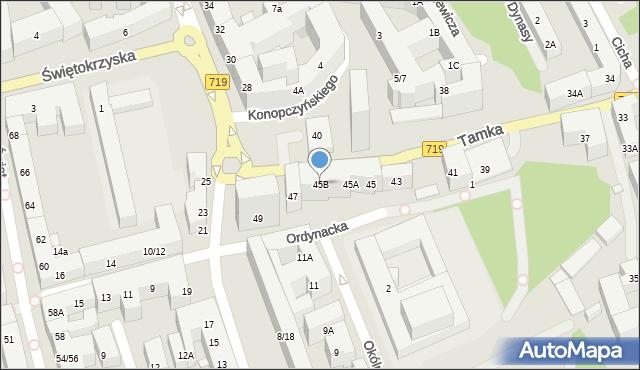 Warszawa, Tamka, 45b, mapa Warszawy