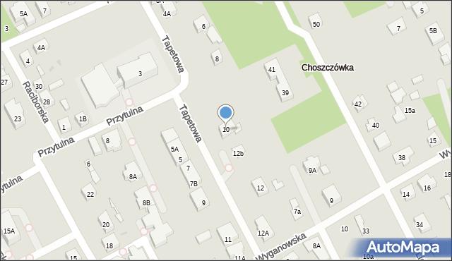 Warszawa, Tapetowa, 10, mapa Warszawy