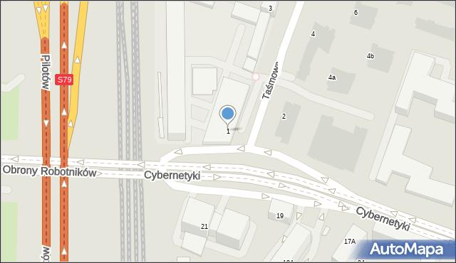 Warszawa, Taśmowa, 1, mapa Warszawy