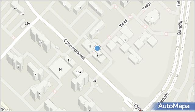 Warszawa, Teligi Leonida, 5, mapa Warszawy