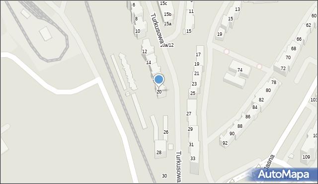 Szczecin, Turkusowa, 20, mapa Szczecina