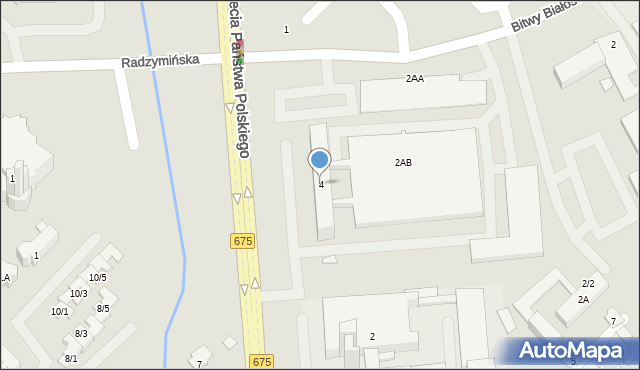 Białystok, Tysiąclecia Państwa Polskiego, 4, mapa Białegostoku