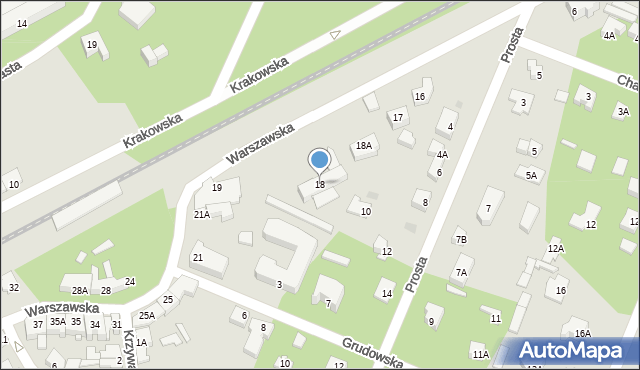 Milanówek, Warszawska, 18, mapa Milanówek