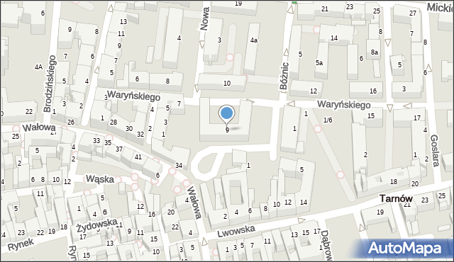 Tarnów, Waryńskiego Ludwika, 9, mapa Tarnów