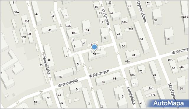 Warszawa, Walecznych, 59, mapa Warszawy