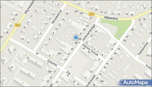 Żuromin, Wetmańskiego Leona, bp., 53, mapa Żuromin