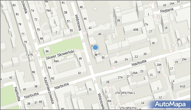 Warszawa, Wiśniowa, 36, mapa Warszawy