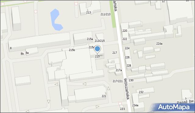 Łódź, Wólczańska, 215, mapa Łodzi