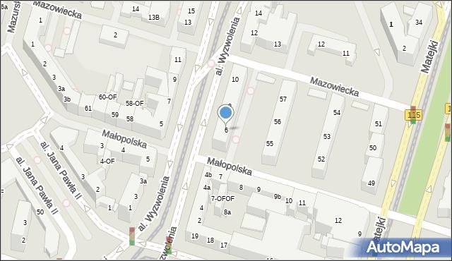 Szczecin, Wyzwolenia, al., 6, mapa Szczecina
