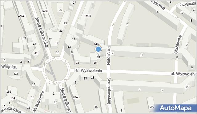 Warszawa, Wyzwolenia, 14, mapa Warszawy