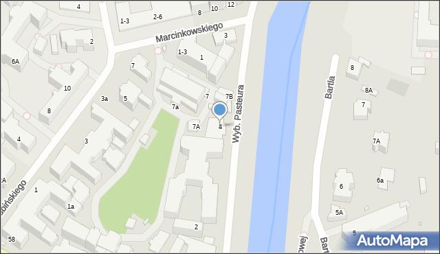 Wrocław, Wybrzeże Pasteura Ludwika, 4, mapa Wrocławia