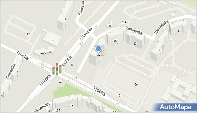 Warszawa, Zamiejska, 17, mapa Warszawy