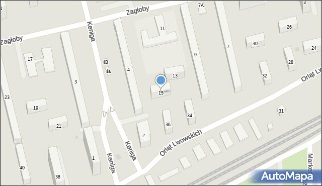 Warszawa, Zagłoby Onufrego, 15, mapa Warszawy