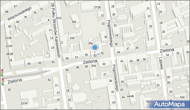 Łódź, Zielona, 53, mapa Łodzi