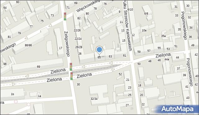 Łódź, Zielona, 65, mapa Łodzi