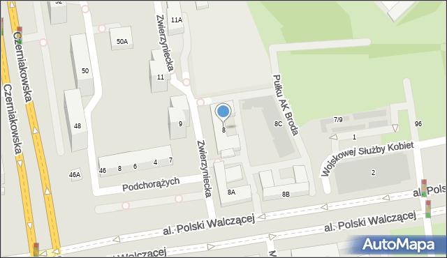 Warszawa, Zwierzyniecka, 8, mapa Warszawy