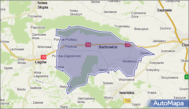 gmina Baćkowice - powiat opatowski na mapie Targeo