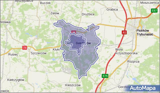 gmina Bełchatów - powiat bełchatowski na mapie Targeo