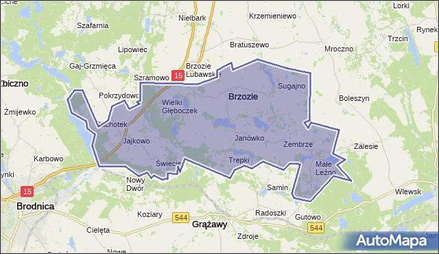 gmina Brzozie - powiat brodnicki na mapie Targeo