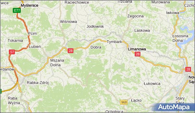 gmina Dobra - powiat limanowski na mapie Targeo