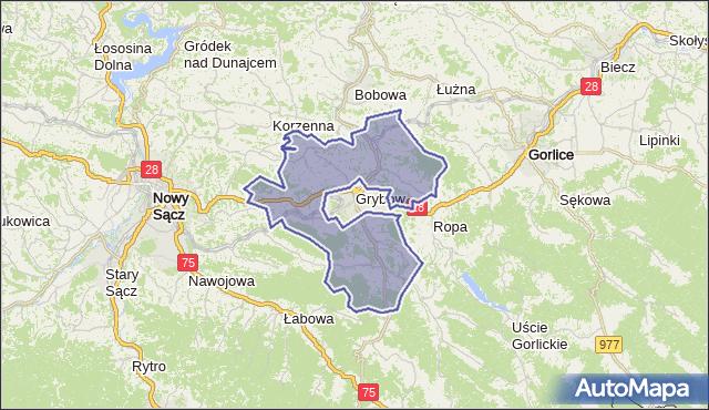 gmina Grybów - powiat nowosądecki na mapie Targeo