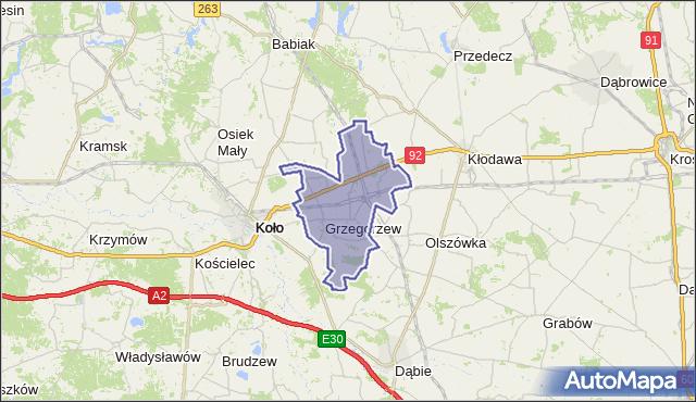 gmina Grzegorzew - powiat kolski na mapie Targeo