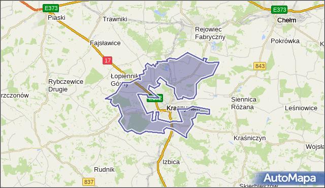 gmina Krasnystaw - powiat krasnostawski na mapie Targeo
