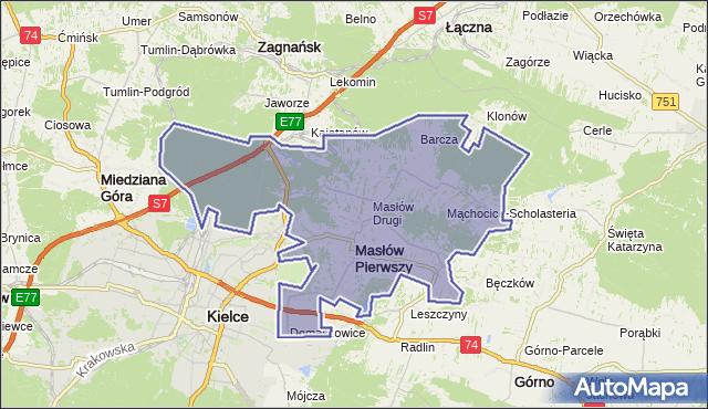 gmina Masłów - powiat kielecki na mapie Targeo