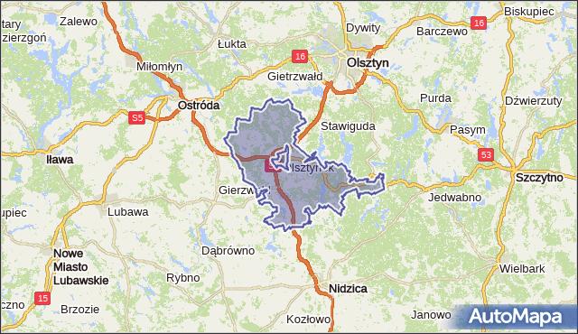 gmina Olsztynek - powiat olsztyński na mapie Targeo