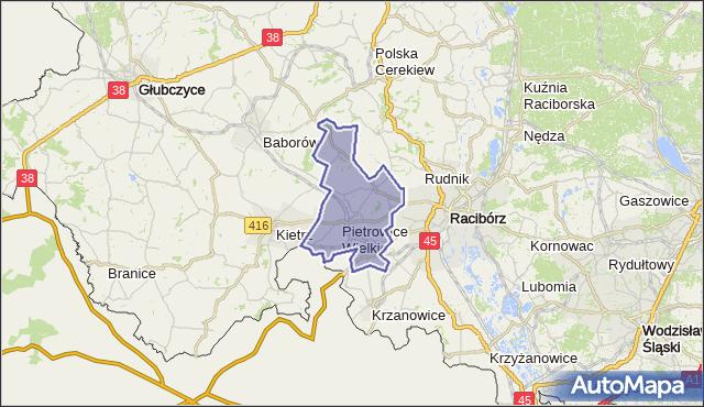 gmina Pietrowice Wielkie - powiat raciborski na mapie Targeo