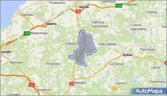 gmina Trzebielino - powiat bytowski na mapie Targeo