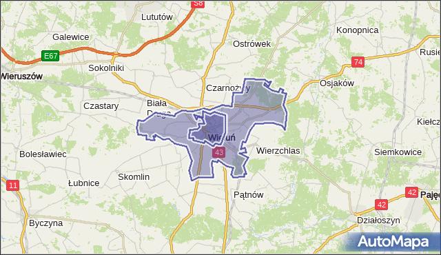 Mapa Polski Targeo, gmina Wieluń - powiat wieluński na mapie Targeo