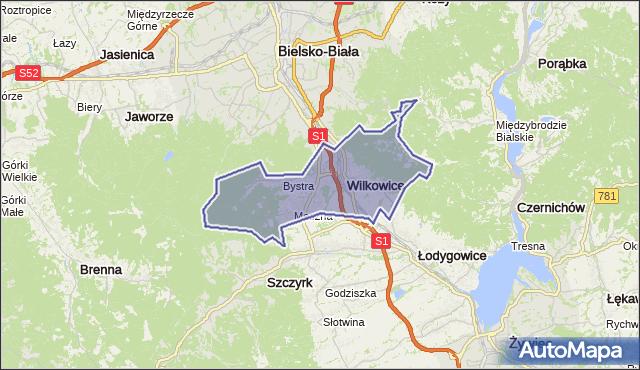 gmina Wilkowice - powiat bielski na mapie Targeo