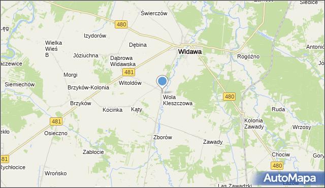 Mapa Polski Targeo, mapa Wola Kleszczowa, Wola Kleszczowa na mapie Targeo