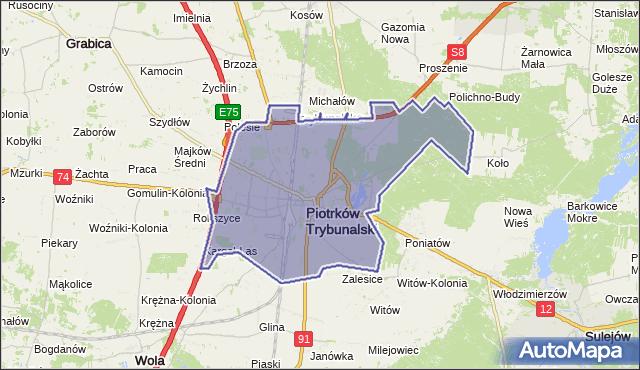 powiat Piotrków Trybunalski - województwo łódzkie na mapie Targeo