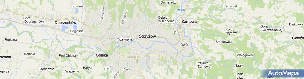 Zdjęcie satelitarne Strzyżowska Fabryka Mebli