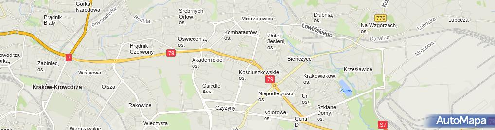 Zdjęcie satelitarne Prokuratura Rejonowa Kraków Krowodrza