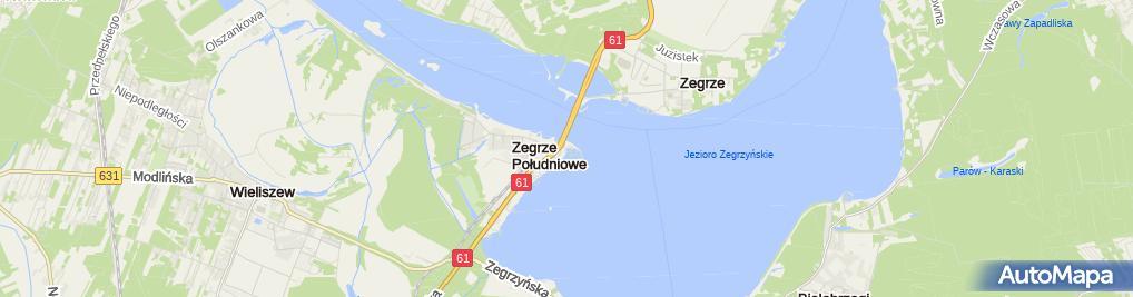 Zdjęcie satelitarne Przystań Marina Zegrze - WTW Port Kruszywa