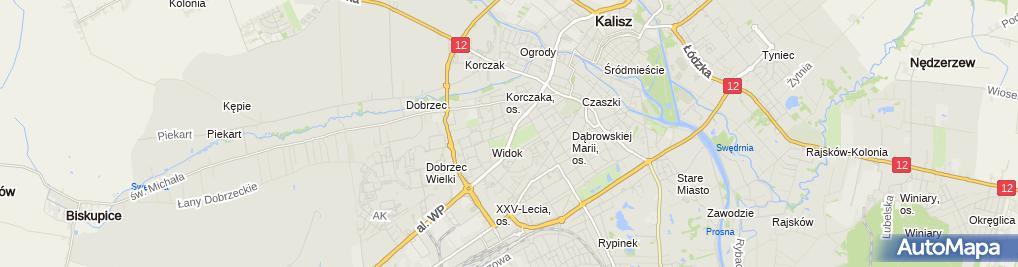 Zdjęcie satelitarne Kuria diecezjalna Diecezji Kaliskiej