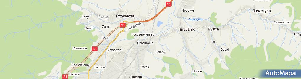 Zdjęcie satelitarne Cięcina Dolna
