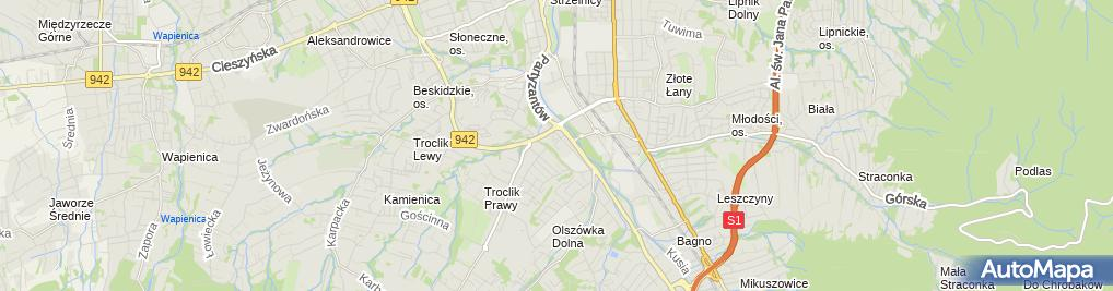 Zdjęcie satelitarne Pod Bukami