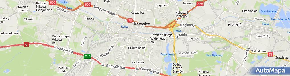 Zdjęcie satelitarne Katowice - Ul. Warszawska 36