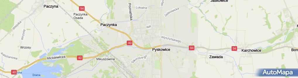 Zdjęcie satelitarne Parafia Nawrócenia św. Pawła Apostoła w Pyskowicach