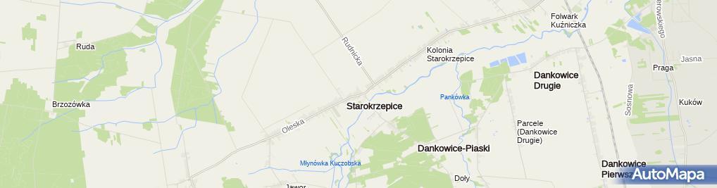 Zdjęcie satelitarne Starokrzepice - kościół