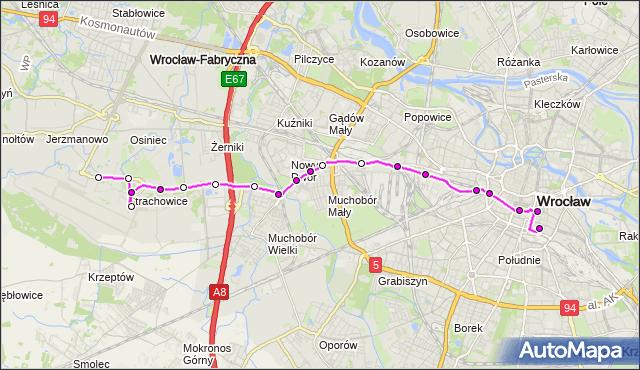 Autobus 406 - trasa DWORCOWA - PORT LOTNICZY. MPKWroclaw na mapie Targeo