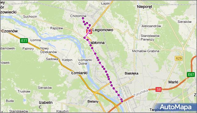 Autobus 723 - trasa ŻERAŃ FSO - PKP LEGIONOWO-PRZYSTANEK LG. ZTM Warszawa na mapie Targeo