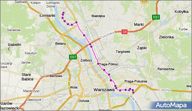 Autobus 509 - trasa NOWODWORY - GOCŁAW. ZTM Warszawa na mapie Targeo